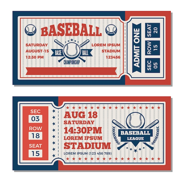 Modèle de billets au tournoi de baseball Vecteur Premium