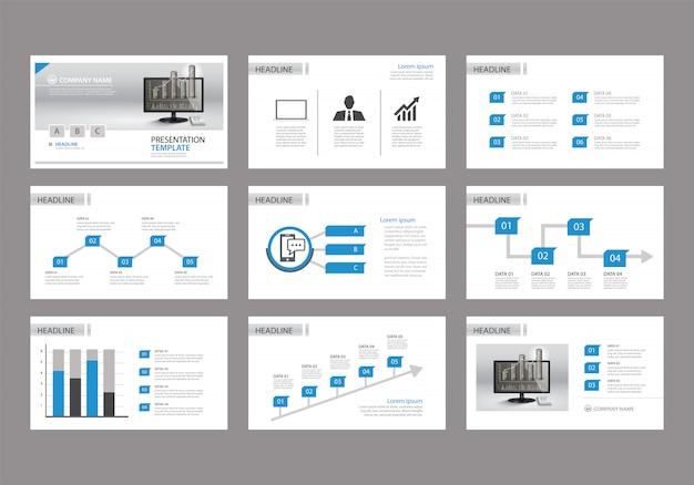Modèle bleu pour la présentation de diapositives sur le fond. Vecteur Premium