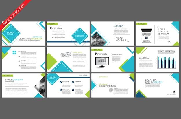 Modèle bleu pour la présentation de diapositives powerpoint Vecteur Premium