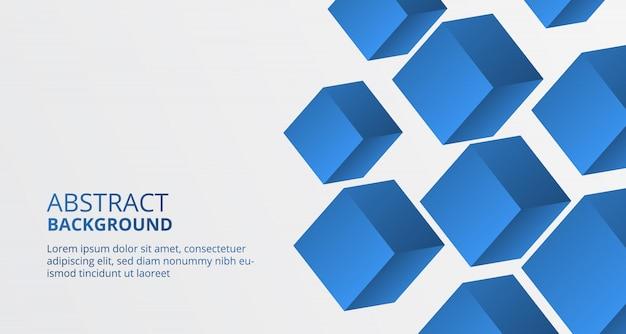 Modèle de bloc de cube en forme de boîte bleue 3d pour le fond Vecteur Premium