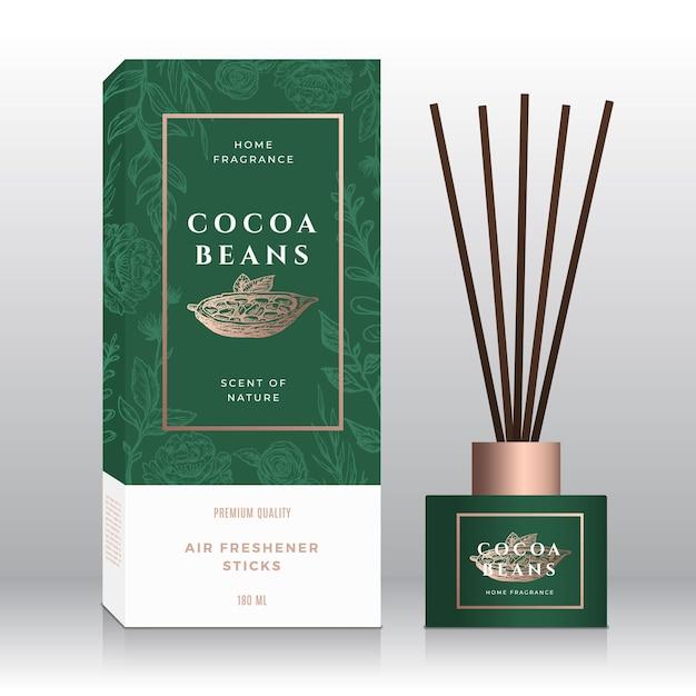 Modèle De Boîte Abstraite De Bâtons De Parfum De Maison De Haricots De Cacao. Vecteur Premium