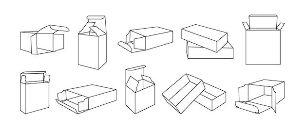Modèle De Boîte De Ligne Noire Ensemble De Contours De La Collection De Boîtes-cadeaux D'emballage De Produit Vecteur Premium