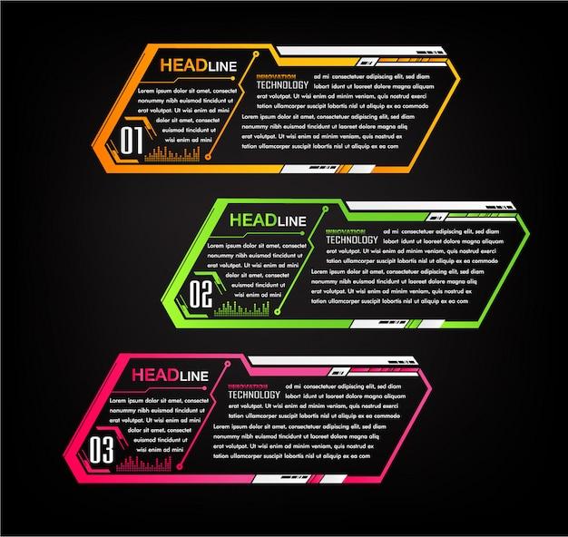 Modèle de boîte de texte papier moderne, bannière cyber infographique Vecteur Premium