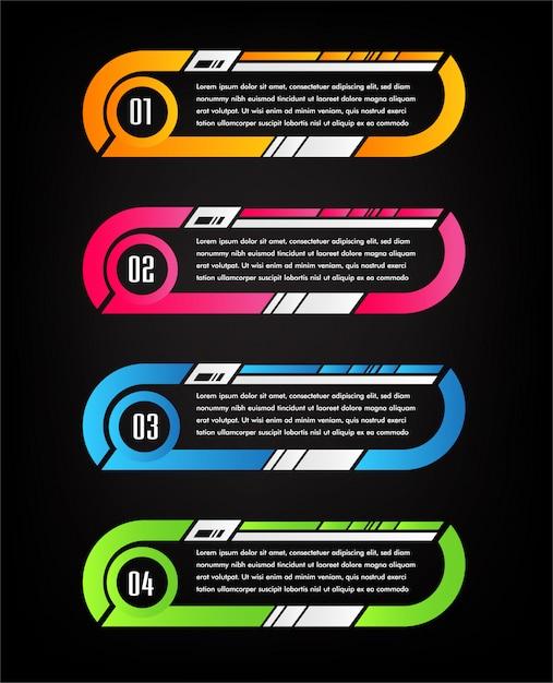 Modèle de boîte de texte papier moderne, bannière infographique Vecteur Premium