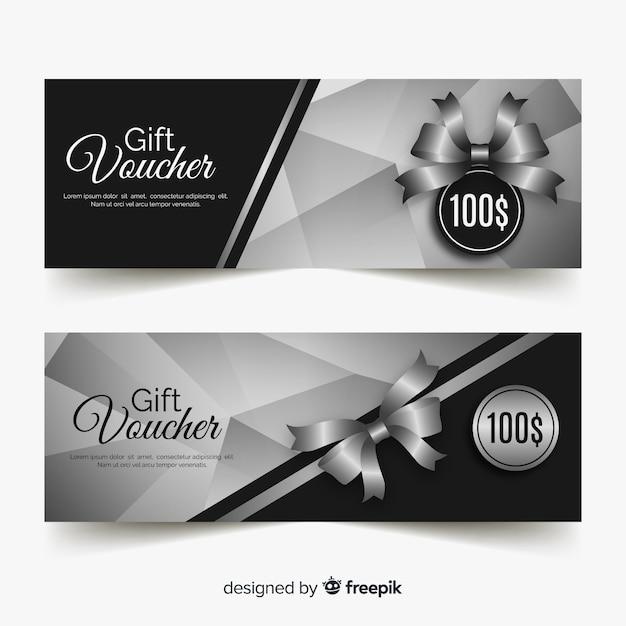 Modèle de bon cadeau élégant avec style argent Vecteur gratuit