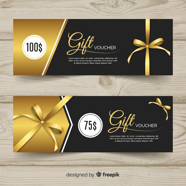 Modèle de bon cadeau élégant avec style doré Vecteur gratuit
