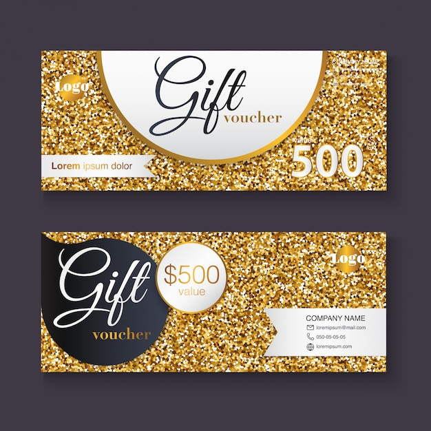 Modèle De Bon Cadeau Avec Motif De Paillettes D'or Vecteur Premium
