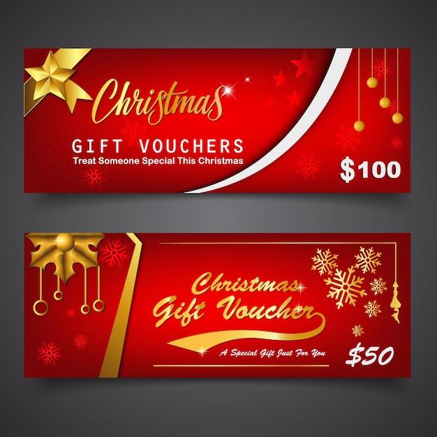 Modèle De Bon Cadeau Pour Noël | Vecteur Premium