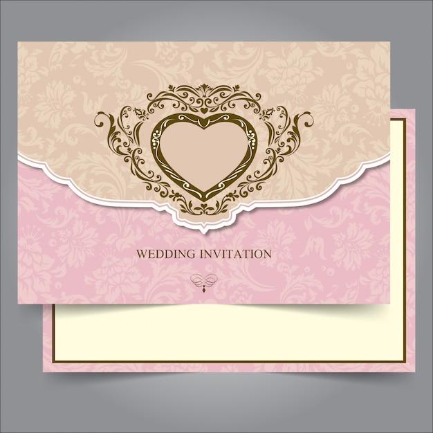 Modèle de bordure et cadre invitation de mariage vintage Vecteur Premium
