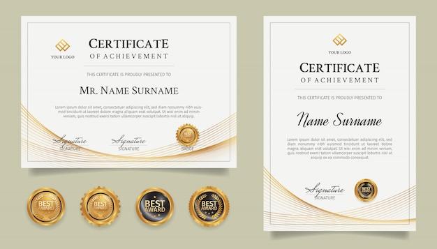 Modèle De Bordure De Certificat De Diplôme Avec Dessin Au Trait Or Et Badges Vecteur Premium