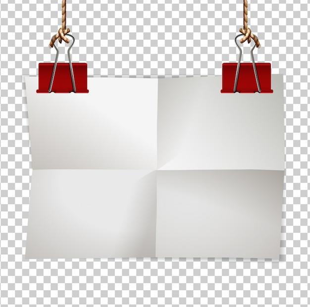 Modèle De Bordure Avec Des Clips Papier Et Rouge Vecteur gratuit