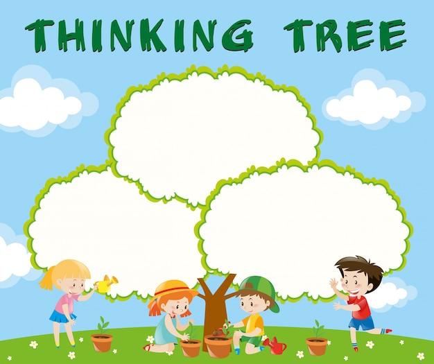 Modèle de bordure avec des enfants plantant des arbres Vecteur gratuit