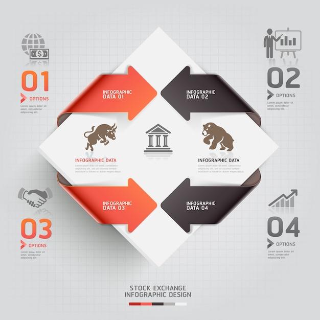 Modèle de bourse de commerce abstrait infographie. Vecteur Premium