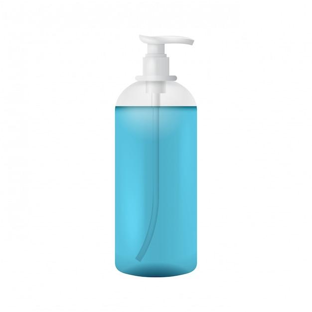 Modèle De Bouteille En Plastique Propre Avec Distributeur De Savon Liquide Vecteur Premium