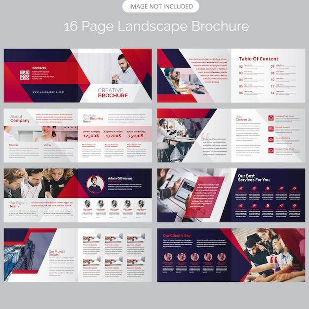 Modèle de brochure de 16 pages de paysages paysagers Vecteur Premium