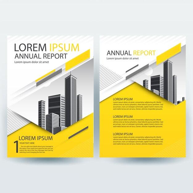Modèle de brochure d'affaires avec des formes géométriques jaunes Vecteur gratuit