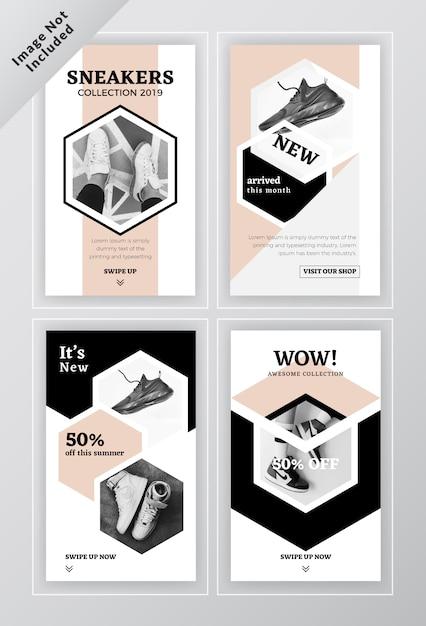 Modèle de brochure de bannière sociale avec des chaussures Vecteur Premium