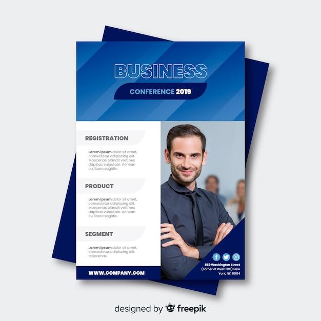 Modèle de brochure de conférence d'affaires plat Vecteur gratuit