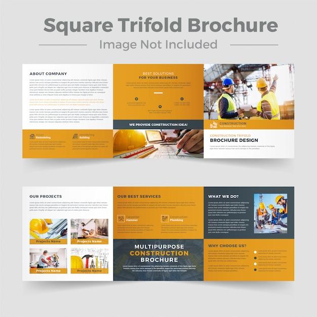 Modèle De Brochure De Construction à Trois Volets Vecteur Premium