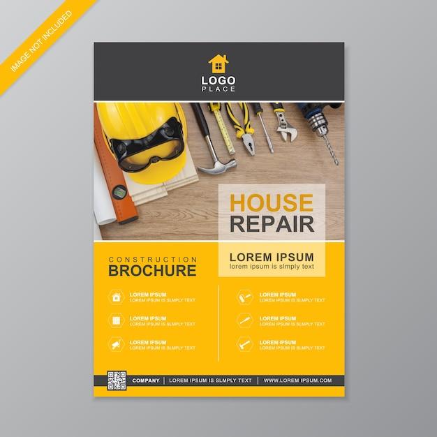 Modèle de brochure de couverture de construction Vecteur Premium