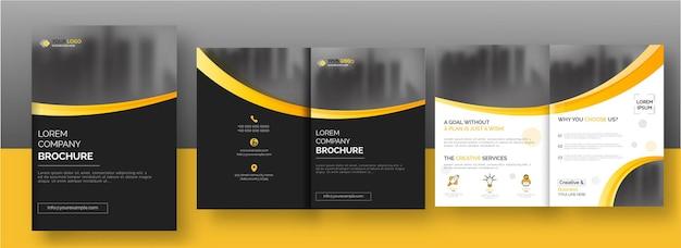Modèle De Brochure En Deux Volets Ou Mise En Page De Rapport Annuel En Couleur Noir Et Blanc. Vecteur Premium