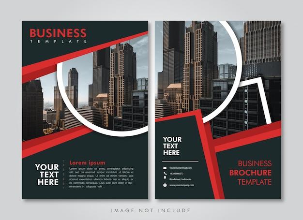 Modèle de brochure d'entreprise bande rouge Vecteur Premium