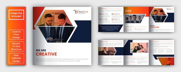 Modèle De Brochure D'entreprise Carré Vecteur Premium