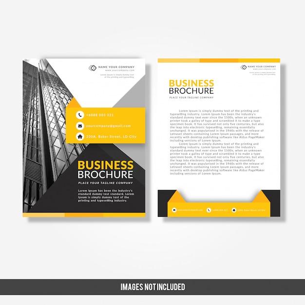 Modèle de brochure d'entreprise avec jaune et noir Vecteur Premium