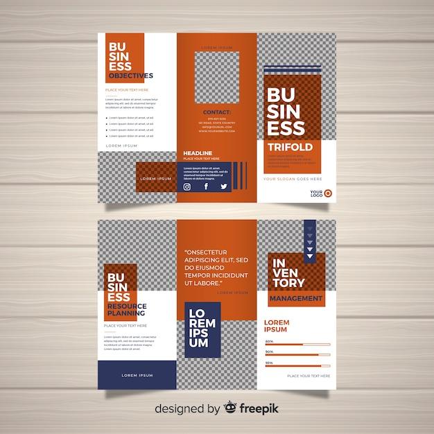 Modèle de brochure d'entreprise à trois volets Vecteur gratuit