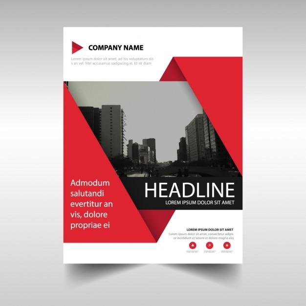 Modèle de brochure géométrique, couleur rouge Vecteur gratuit