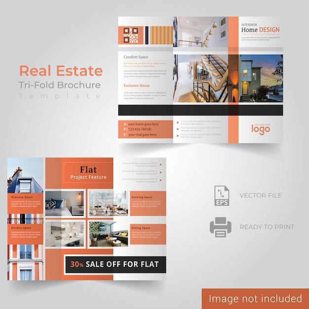 Modèle de brochure de immobilier à trois volets Vecteur Premium