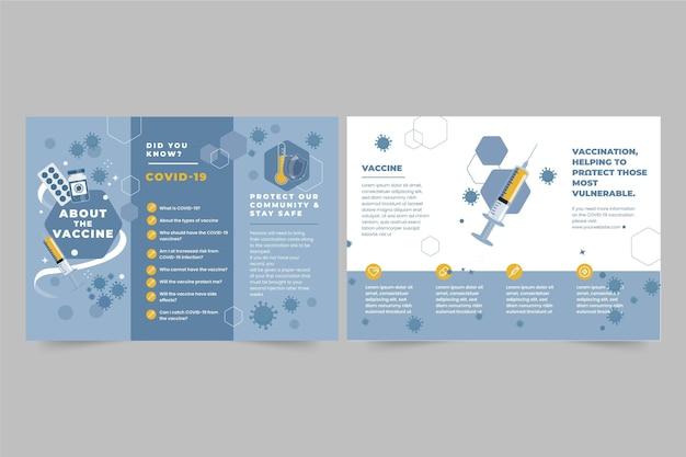 Modèle De Brochure Informative Sur La Vaccination Contre Le Coronavirus Dessiné à La Main Vecteur gratuit