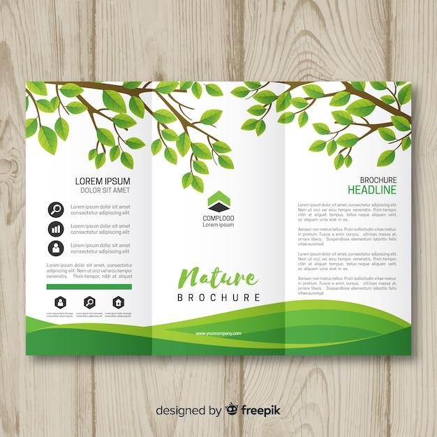 Modèle de brochure nature triflod Vecteur gratuit