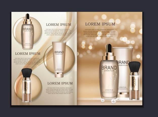 Modèle de brochure produit design cosmetics pour annonces ou arrière-plan de magazines Vecteur Premium