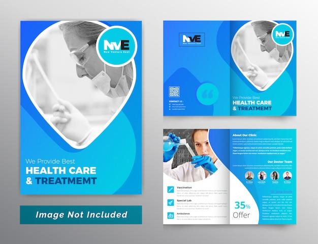 Modèle de brochure de soins médicaux et de santé bifols Vecteur Premium