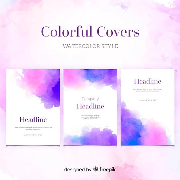 Modèle de brochure de taches d'aquarelle Vecteur gratuit