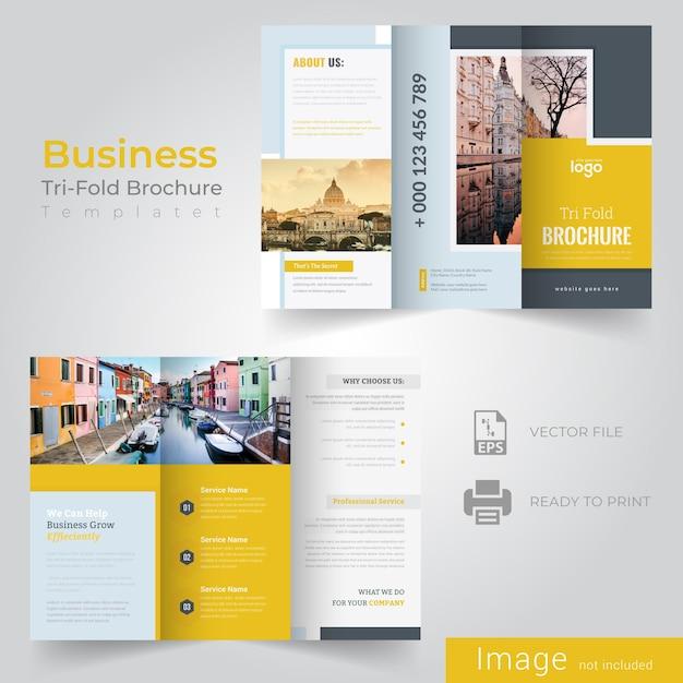 Modèle de brochure tri fold Vecteur Premium