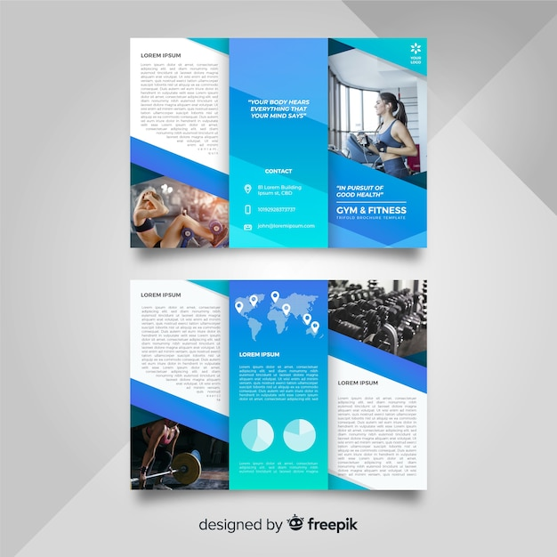 Modèle de brochure trifold de gym Vecteur gratuit