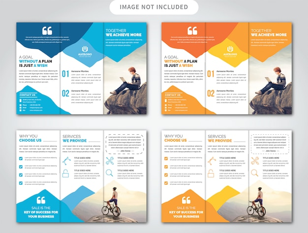 Modèle de brochure de trois plis Vecteur Premium