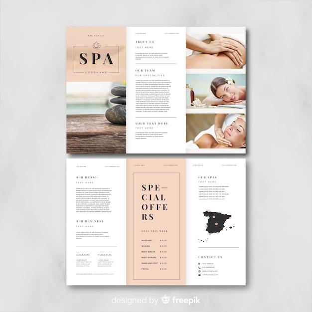 Modèle de brochure à trois volets spa Vecteur gratuit