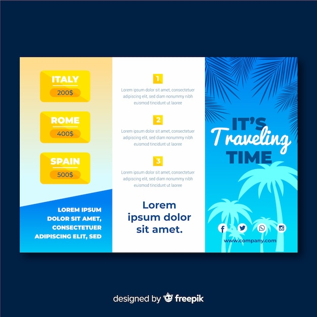 Modèle de brochure à trois volets de voyage Vecteur gratuit