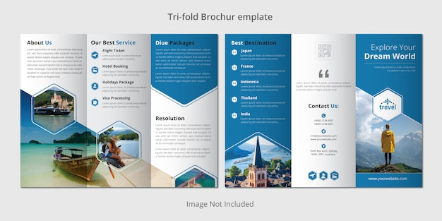 Modèle De Brochure à Trois Volets De Voyage Vecteur Premium
