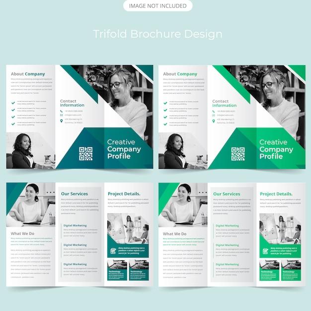 Modèle de brochure à trois volets Vecteur Premium