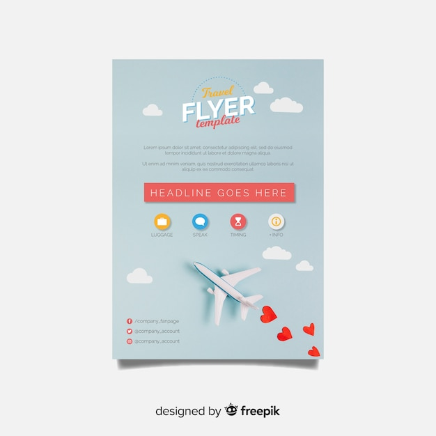 Modèle de brochure de voyage plat Vecteur gratuit
