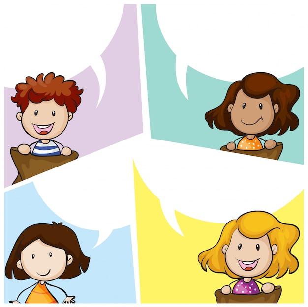 Modèle de bulle de discours avec de nombreux enfants Vecteur gratuit
