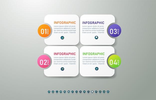 Modèle de business design 4 options ou étapes élément graphique infographique. Vecteur Premium