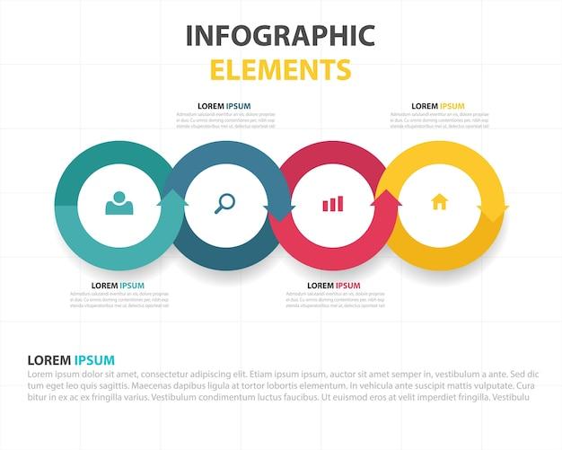 Modèle business infographique coloré hexagone abstrait Vecteur gratuit