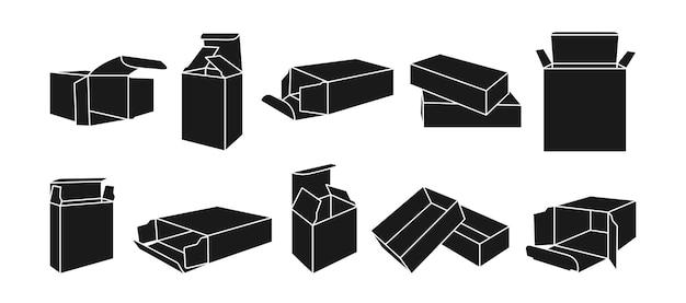 Modèle De Cadeau Boîte De Glyphe Noir Ensemble De Boîtes D'emballage De Produit Collection De Silhouette Emballage De Forme De Papier Ouvert Vecteur Premium