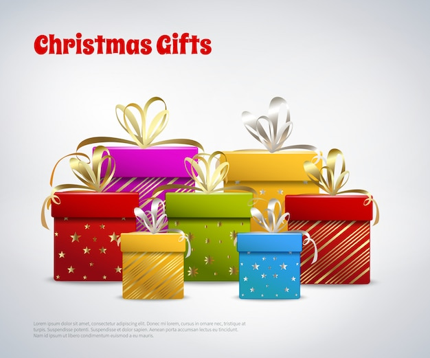 Modèle De Cadeaux De Noël Vecteur gratuit