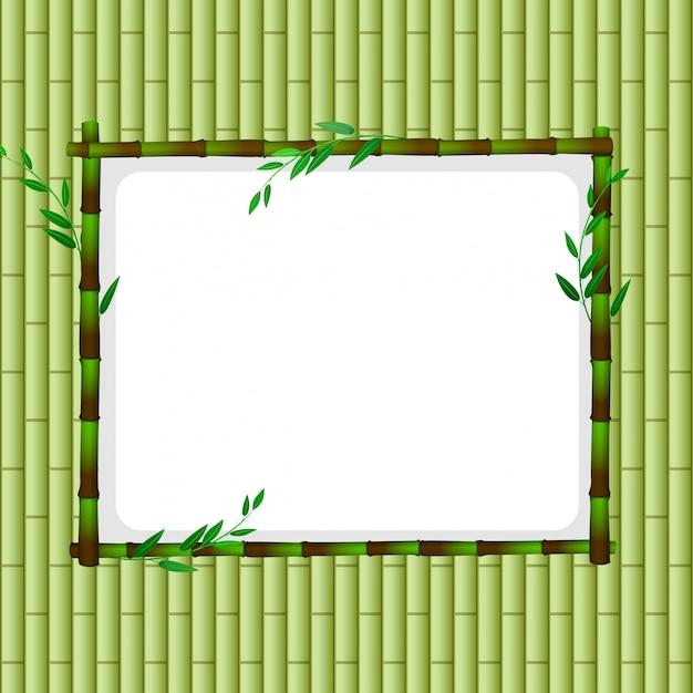 Modèle De Cadre Avec Bambou Vert Vecteur gratuit